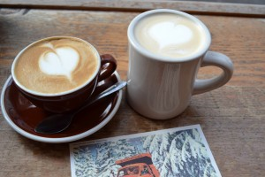 A soy latte and a cafe au lait at Stumptown Roasters