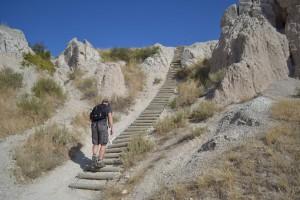 Walking the ladder on Notch Trail